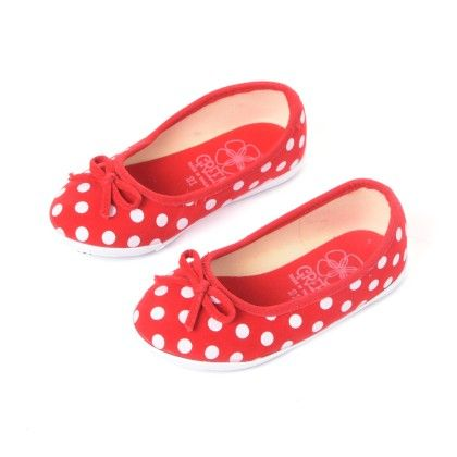 Red Shoes With Polka Print And Bow - Green