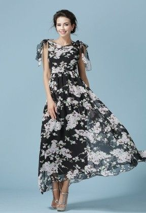 Chiffon Women's Printed Spring Maxi Dress - Mauve Collection