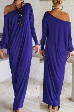 Blue Off Shoulder Long Dress - Enigma