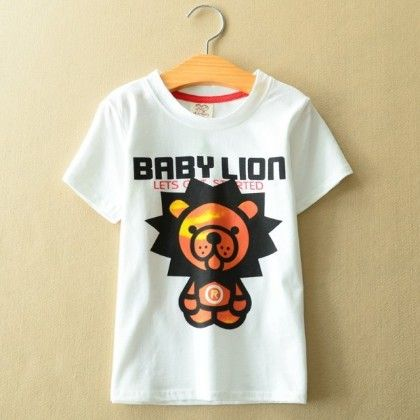 Baby Lion Printed White T-shirt - AILE BABY
