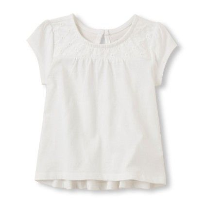 Girls Short Sleeve Eyelet Yoke Babydoll Top - Simply White - The Children's Place