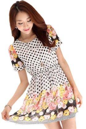 Polka Dots Short Dress - Mauve Collection