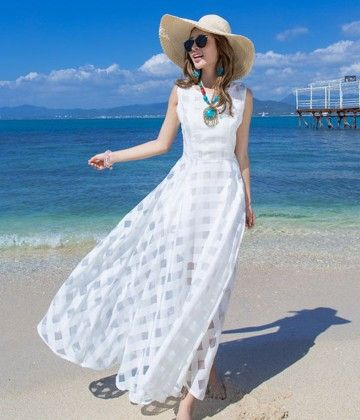 Vintage White Long Beach Dress - STUPA FASHION