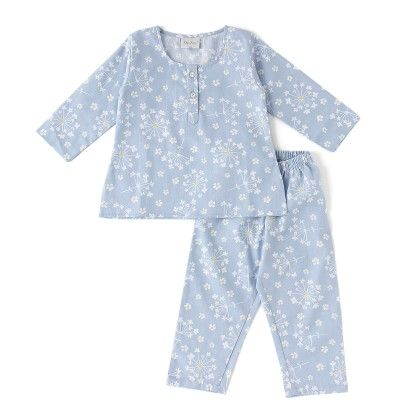 Blue Little Daisies Cotton Kurta Pyjama Set - De-Nap