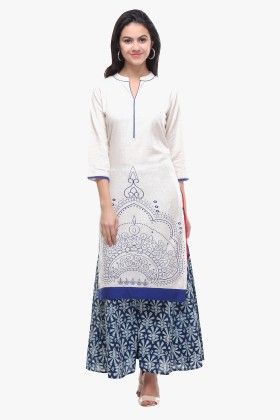 Off-white Flex Cotton Printed Kurti - Riti Riwaz