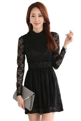 Black Net Sleeves Dress - Mauve Collection