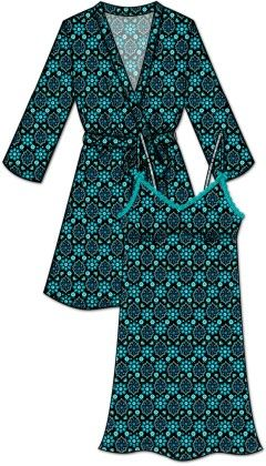 Lace Me Up Robe And Chemise Set -blue - Rene Rofe