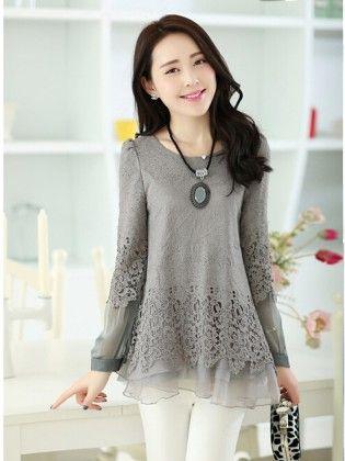 Lace Chiffon Women Clothing Top Gray - STUPA FASHION
