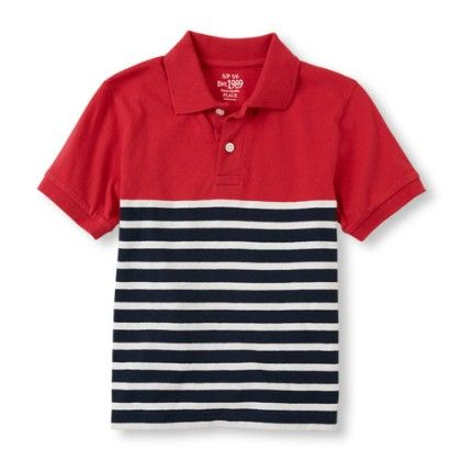 Boys Short Sleeve Solid-to-striped Ruby Polo - The Children's Place