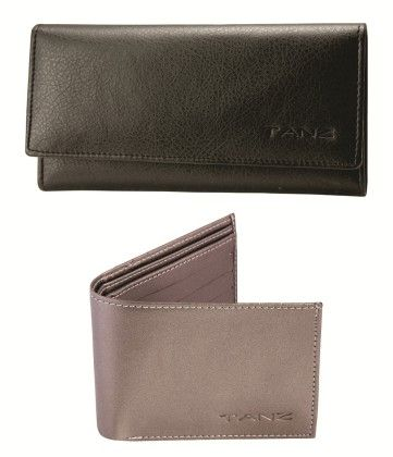 Combo Of Two Wallets  Black & Grey For Couples - Tanz