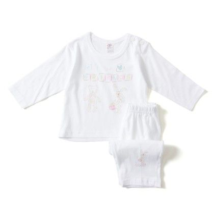 Lets Be Friends Sky Blue And Pink Print T-shirt And Pants Set - ZERO