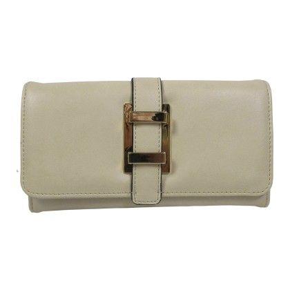 Belted Strap Front Wallet Beige - YOKI