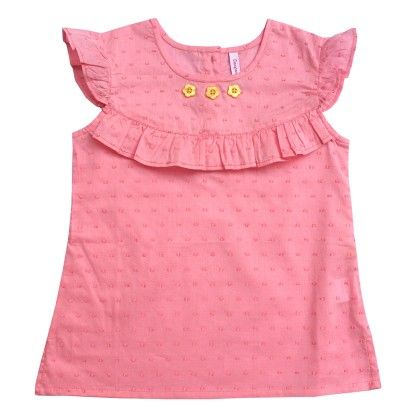 Pink Girls Solid Top With Frill - Campana