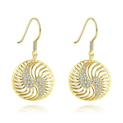 Gold Plated The Circle Of Love Drop Down Earrings - Rubique Jewelry