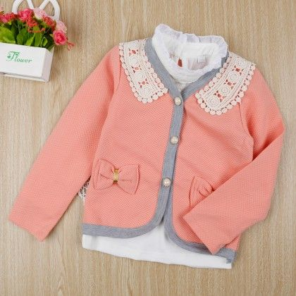 Stylish Shirt With Bow Applique Jacket - Light Pink - Little Spring