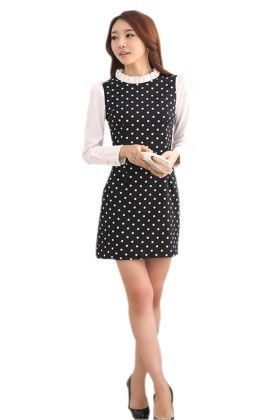 Black Polka Dot Print Dress - Mauve Collection