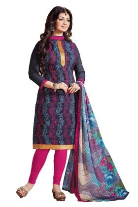 Riti Riwaz Navy Embroidered Dress Material With Matching Dupatta