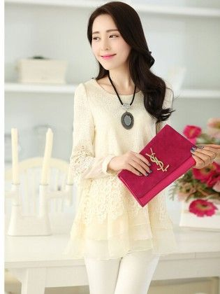 White Lace Long Sleeve Summer Cream Top - STUPA FASHION