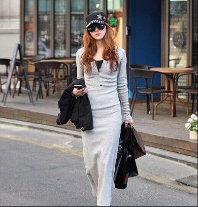 Gray Long Sleeved Bodycon Long Dress - Fashionistaa 21