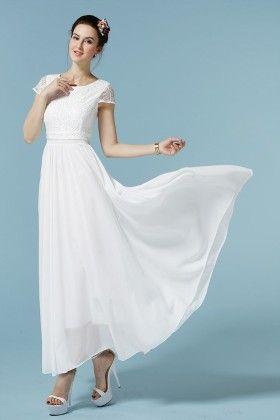 White Chiffon Spring Dress - Mauve Collection