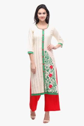 Off-white Cotton Cambric Embroidered Kurti - Riti Riwaz