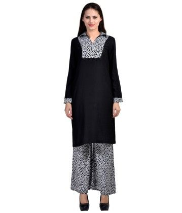 Kurti & Plazo Set Black-white - Brand Stand