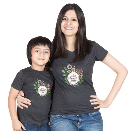 Charcoal Mom Sweet Mom Cotton Tee For Mother - BonOrganik