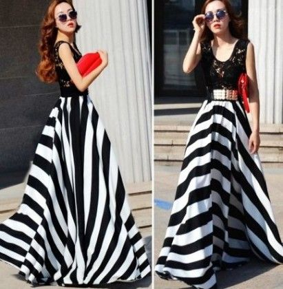 Black And White Striped Printed Dress - Drape In Vogue