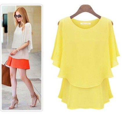Loose Casual Summer Yellow Top - STUPA FASHION