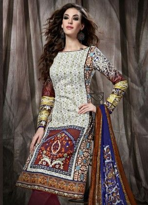 Gracefully White Printed Dress Material - Fashion Fiesta