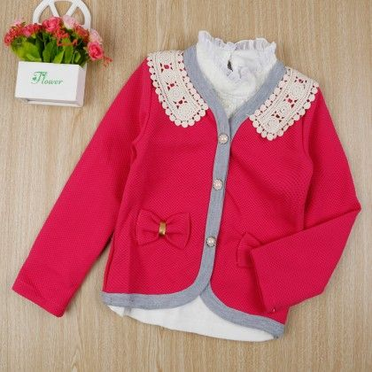Stylish Shirt With Bow Applique Jacket - Dark Pink - Little Spring