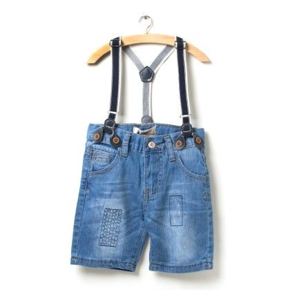 Blue Denim Suspender Shorts - Elves & Fairies