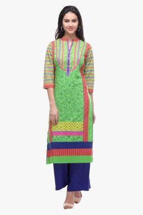 Green Cotton Cambric Printed Kurti - Riti Riwaz