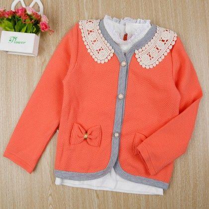 Stylish Shirt With Bow Applique Jacket - Orange - Little Spring