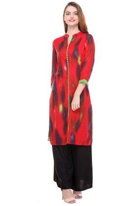Red Cambric Printed  Kurti - Riti Riwaz
