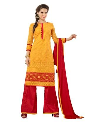 Riti Riwaz Yellow Embroidered Dress Material With Red Matching Dupatta