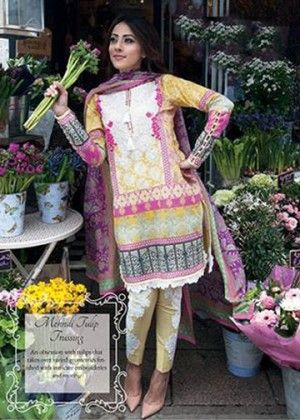 Yellow With Pink Beautiful Printed Unstitched Suit - Mauve Collection
