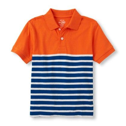 Boys Short Sleeve Solid-to-striped Surfer Polo - The Children's Place