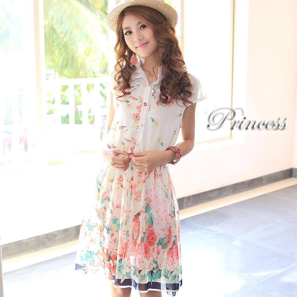 White Floral Print Dress - Mauve Collection