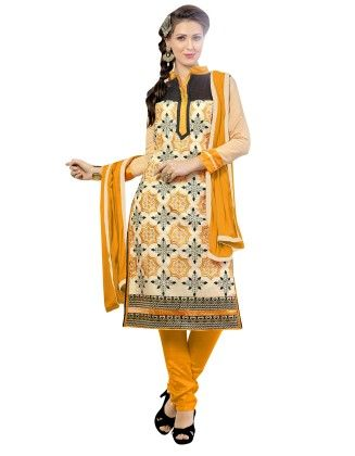 Off White & Yellow Embroidered Dress Material With Matching Dupatta - Riti Riwaz