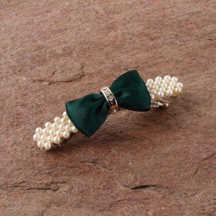 Pearl N Satin Bow Clippe- Green - Anaira