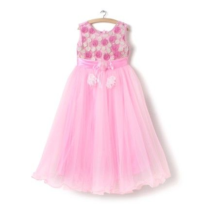 Pink Partywear Cotton And Polyester Gown - EIORA