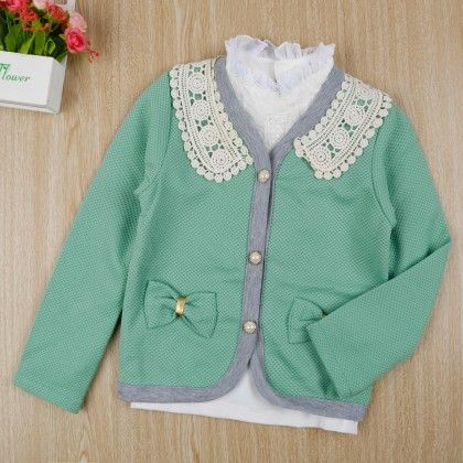 Stylish Shirt With Bow Applique Jacket - Green - Little Spring
