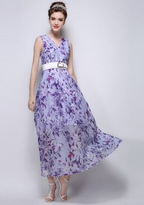 Purple Printed Dress - Mauve Collection
