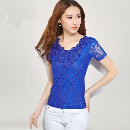 Short Sleeve Lace Blouse Royal Blue - STUPA FASHION