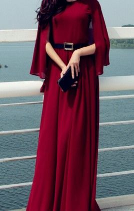 Cape Sleves Maxi Dress  Maroon - Mauve Collection