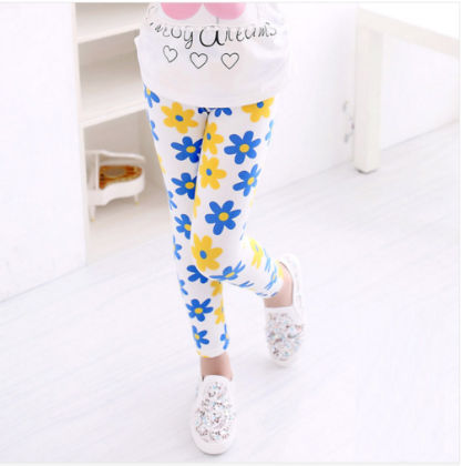 Cute White Legging With Yellow & Blue Flower Print - Jazzy Snazzy