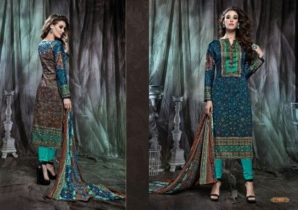 Blue Floral Dress Material - Fashion Fiesta