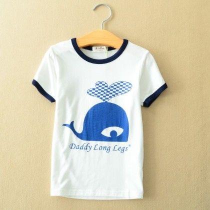 Cute Dolphin Print White T-shirt - AILE BABY