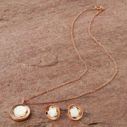 Elegant Pendant Set - Rose Gold - Anaira
